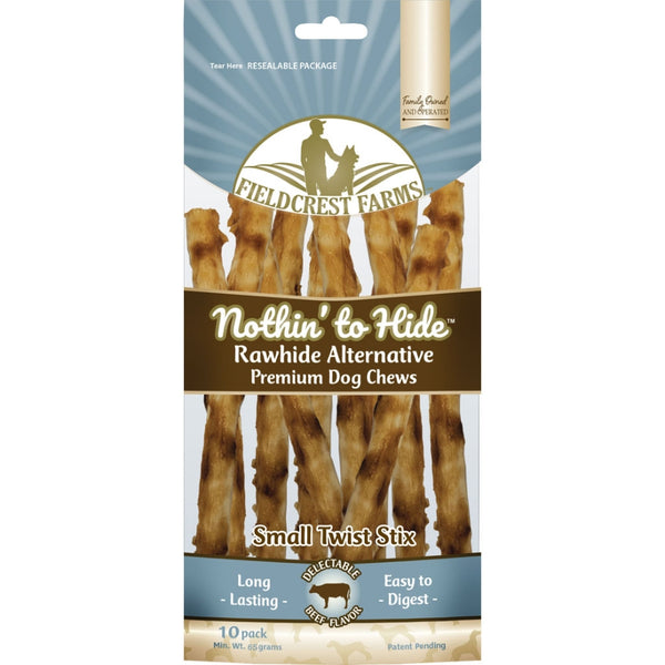 "Fieldcrest Farms Nothin' to Hide Rawhide Alternative Beef Chews, 10"" at NJPetSupply.com"