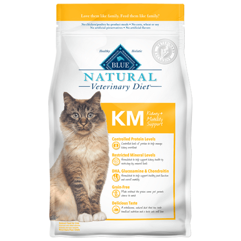 BLUE Natural Veterinary Diet KM Kidney + Mobility Support Dry Cat Food - NJ Pet Supply
