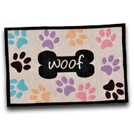 Loving Pets Bella Fashion Mat, Woof w/Multi Paws