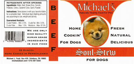 Michael's Soul Stew Beef Wet Dog Food in Glass Jar, 16-oz at NJPetSupply.com