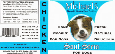 Michael's Soul Stew Chicken Wet Dog Food in Glass Jar, 16-oz at NJPetSupply.com