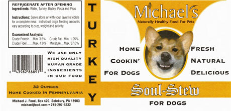 Michael's Soul Stew Turkey Wet Dog Food in Glass Jar, 16-oz at NJPetSupply.com