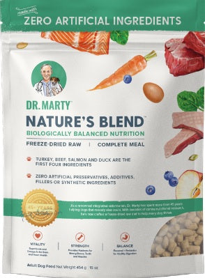 Front of Dr. Marty Freeze Dried Nature's Blend Dog Food at NJPetSupply.com at NJPetSupply.com