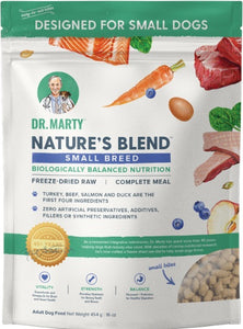 Front of Dr. Marty Freeze Dried Nature's Blend Small Breed Dog Food at NJPetSupply.com at NJPetSupply.com