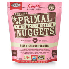 Primal Nuggets Feline Beef and Salmon Formula Freeze-Dried Cat Food