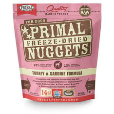 Primal Nuggets Canine Turkey and Sardine Formula Freeze-Dried Dog Food