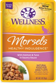 Wellness Healthy Indulgence Natural Grain Free, Morsels With Salmon & Tuna in Savory Sauce Cat Food