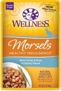 Wellness Healthy Indulgence Natural Grain Free, Morsels with Turkey & Duck in Savory Sauce Cat Food