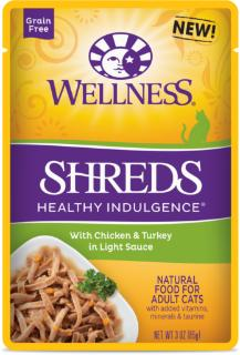Wellness Healthy Indulgence Natural Grain Free, Shreds with Chicken & Turkey in Light Sauce Cat Food