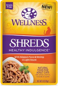 Wellness Healthy Indulgence Natural Grain Free, Shreds w/Skipjack Tuna & Shrimp in Light Sauce