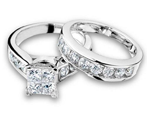 Princess Cut Diamond Engagement Ring and Wedding Band Set 1.00 Carat (ctw) in 10K White Gold (i2/i3, i/j)