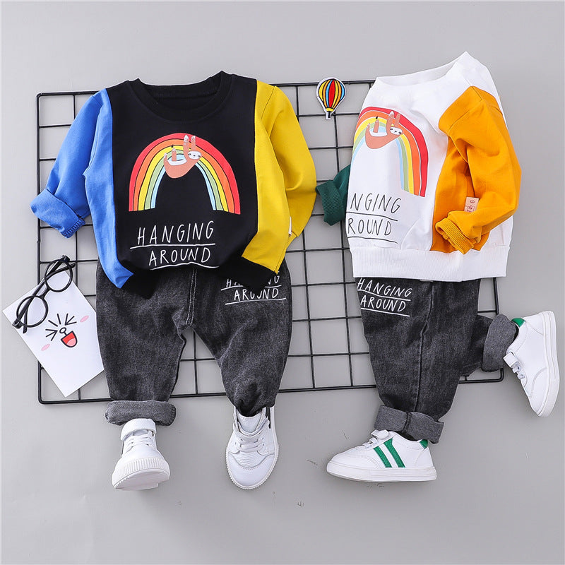 Kid Boys and girls color stitching color sweater + jeans set