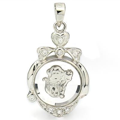 EXCELLENT WHITE GERMAN SILVER ROTATABLE MONKEY PENDANT