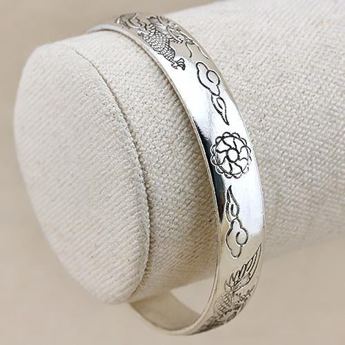 IRRESISTIBLE ! ANTIQUE SILVER ADJUSTABLE DRAGON AND PHOENIX BANGLE