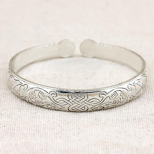 SPLENDID ! ANTIQUE SILVER ADJUSTABLE CHINESE KNOT LUCKY BANGLE