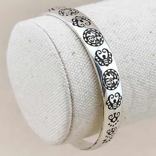 BRILLIANT ! ANTIQUE SILVER ADJUSTABLE LUCKY BANGLE