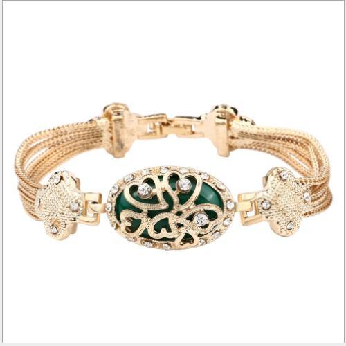 EXQUISITE ! CREATED GREEN STONE 18K GOLD PLATED GERMAN SILVER BRACELET
