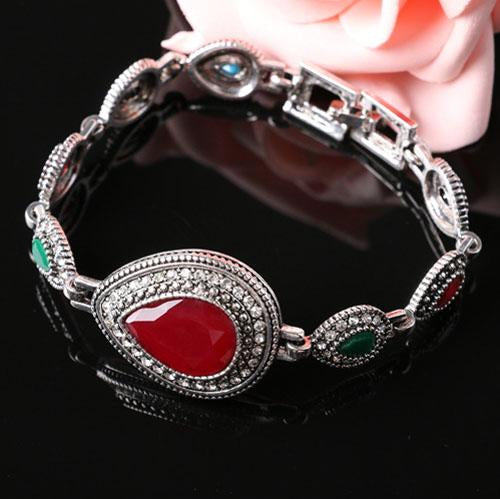 BEAUTEOUS ! CREATED RUBY 18K GOLD PLATED GERMAN SILVER RETRO BRACELET