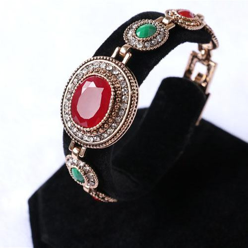 DAZZLING ! CREATED RED STONE 18K GOLD PLATED GERMAN SILVER BRACELET
