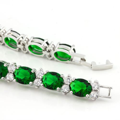 32.00 CT CREATED EMERALD & 22PCS CREATED WHITE TOPAZ 18K GOLD PLATED GERMAN SILVER BRACELET