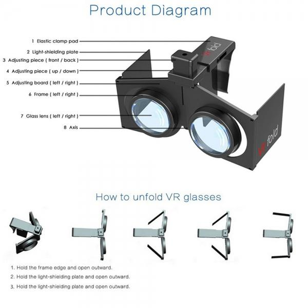 3D Glasses Portable VR Glasses Foldable Ultra-light Thin Shutter Virtual Reality Glasses for 4-6.5 inch Smart phones