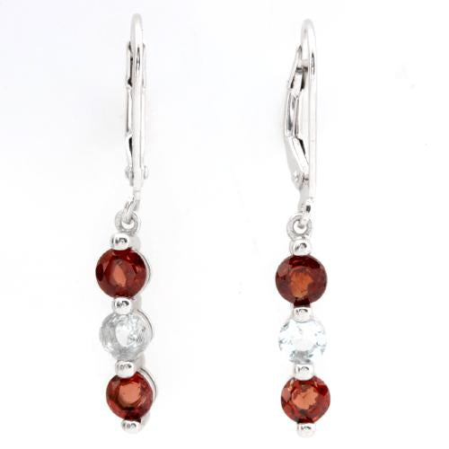 FOXY ! 1 1/4 CARAT GARNET & 1/2 CARAT AQUAMARINE 925 STERLING SILVER EARRINGS