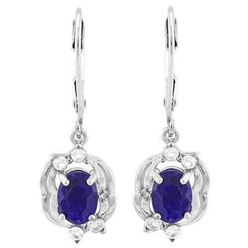 DAZZLING ! CLASSIC ENHANCED GENUINE SAPPHIRE & 1/5 CARAT WHITE TOPAZ 925 STERLING SILVER EARRINGS