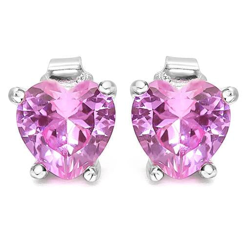 1 4/5 CARAT CREATED PINK SAPPHIRE   925 STERLING SILVER EARRINGS