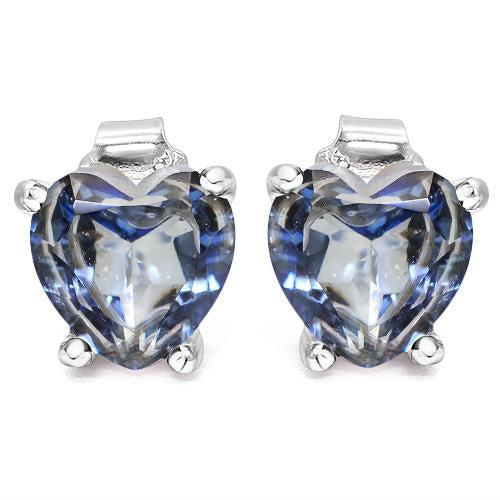 1 4/5 CARAT VIOLET MYSTIC GEMSTONE   925 STERLING SILVER EARRINGS