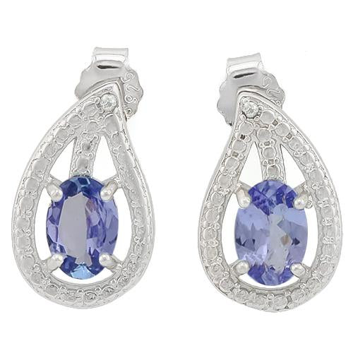 0.82 CARAT TW GENUINE TANZANITE & GENUINE DIAMOND PLATINUM OVER 0.925 STERLING SILVER EARRINGS