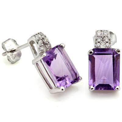 2 4/5 CARAT AMETHYST & CREATED DIAMOND 925 STERLING SILVER EARRINGS