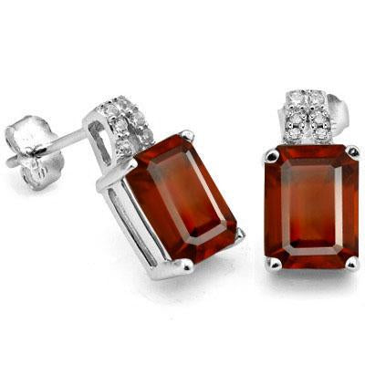 3 4/5 CARAT GARNET & CREATED DIAMOND 925 STERLING SILVER EARRINGS