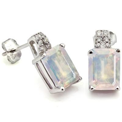 1.57 CARAT TW LAB OPAL & CREATED WHITE SAPPHIRE  PLATINUM OVER 0.925 STERLING SILVER EARRINGS