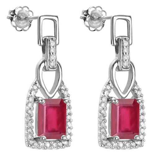 1 3/5 CARAT AFRICAN RUBY   925 STERLING SILVER EARRINGS
