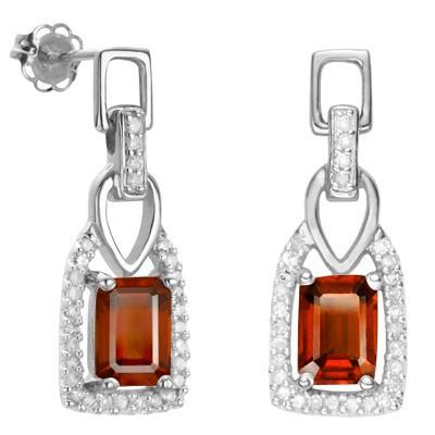 1.75 CT GARNET & 2 PCS WHITE DIAMOND 0.925 STERLING SILVER W/ PLATINUM EARRINGS