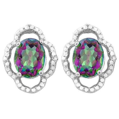3 3/5 CARAT MYSTIC GEMSTONE   925 STERLING SILVER EARRINGS