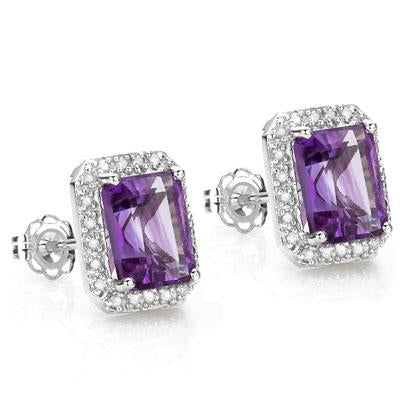 3 CARAT AMETHYST  925 STERLING SILVER EARRINGS