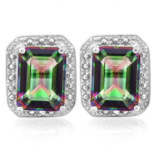2 3/4 CARAT MYSTIC GEMSTONE   925 STERLING SILVER EARRINGS