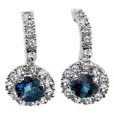 1.32 CT WHITE TOPAZ & 2PCS LONDON BLUE  0.925 STERLING SILVER EARRINGS