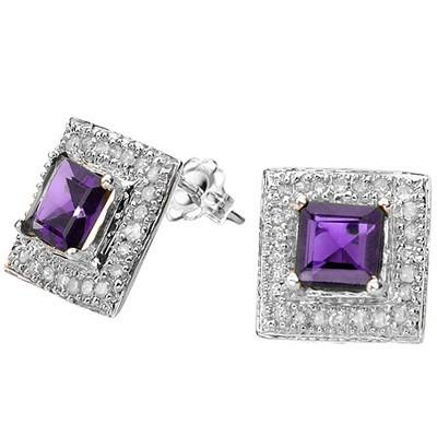 1.30 CT AMETHYST & 2 PCS WHITE DIAMOND 0.925 STERLING SILVER W/ PLATINUM EARRINGS