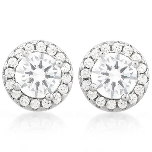 CLASSY 2 1/3 CARAT (34 PCS) FLAWLESS CREATED DIAMOND 925 STERLING SILVER EARRINGS