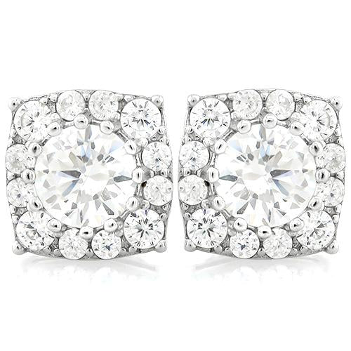 EXQUISITE 2 2/3 CARAT (28 PCS) FLAWLESS CREATED DIAMOND 925 STERLING SILVER EARRINGS