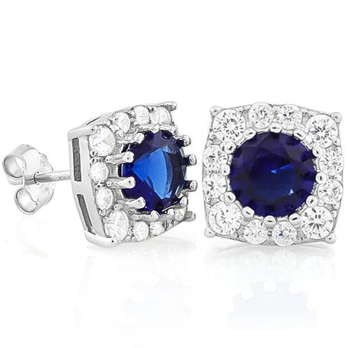 GORGEOUS 2 2/5 CARAT CREATED BLUE SAPPHIRE & 1/4 CARAT (26 PCS) FLAWLESS CREATED DIAMOND 925 STERLING SILVER EARRINGS
