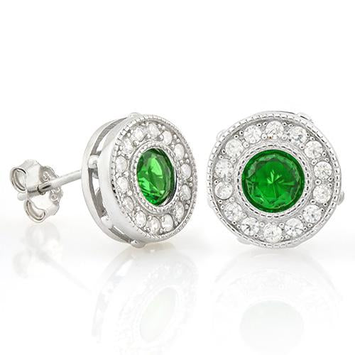 PRETTY 1 1/5 CARAT CREATED EMERALD & 1/4 CARAT (28 PCS) FLAWLESS CREATED DIAMOND 925 STERLING SILVER EARRINGS
