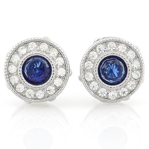PERFECT 1 1/5 CARAT CREATED BLUE SAPPHIRE & 1/4 CARAT (28 PCS) FLAWLESS CREATED DIAMOND 925 STERLING SILVER EARRINGS