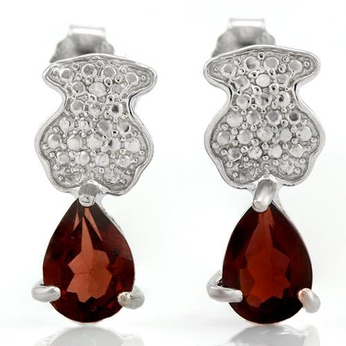 1 3/4 CARAT GARNET   925 STERLING SILVER EARRINGS