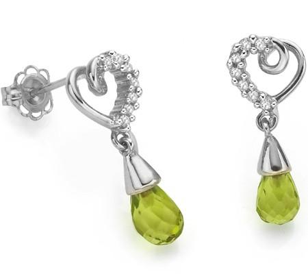 1.64 CARAT TW PERIDOT & GENUINE DIAMOND PLATINUM OVER 0.925 STERLING SILVER EARRINGS