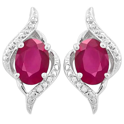 2 1/5 CARAT AFRICAN RUBY   925 STERLING SILVER EARRINGS