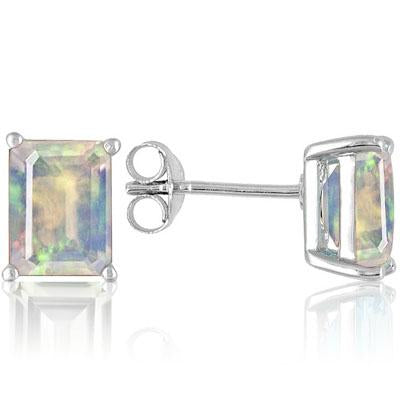 STUNNING 0.88 CARAT TW CREATED FIRE OPAL PLATINUM OVER 0.925 STERLING SILVER EARRINGS