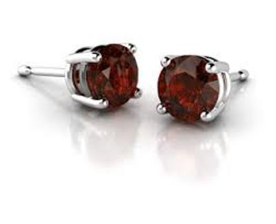CLASSIC 1.20 CT GARNET PLATINUM OVER 0.925 STERLING SILVER EARRINGS